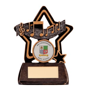 Resin Music Trophies In Antique Gold And Black Coloured Finish