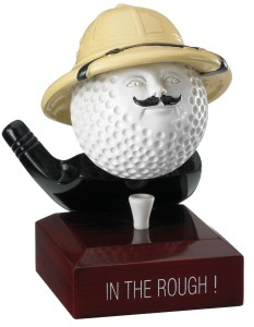 """In The Rough"" Comic Golf Ball Trophies On Wooden Base"