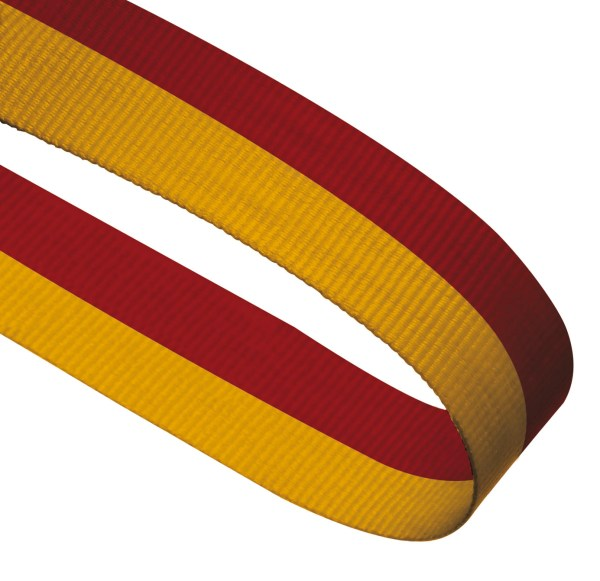 Red / Yellow Woven Medal Ribbons With Clip