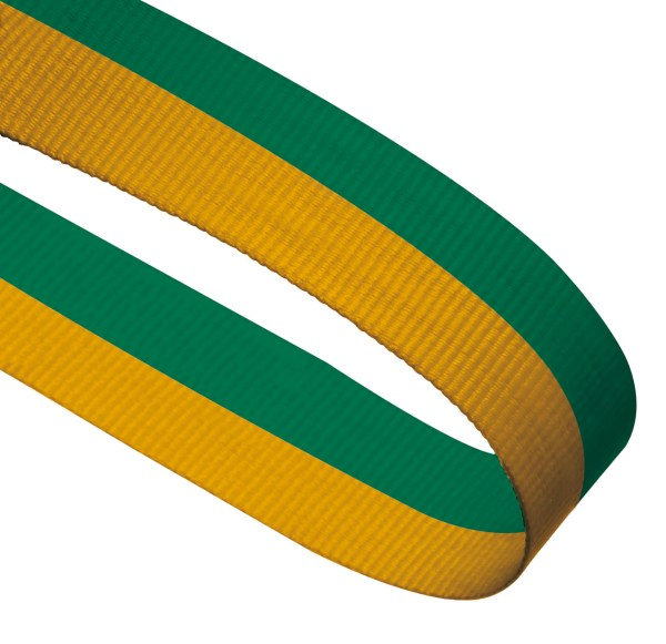 Green / Yellow Woven Medal Ribbons With Clip