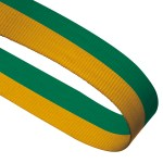 Green / Yellow Woven Medal Ribbons With Clip 1