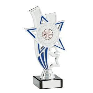 Silver and Blue Coloured Star Centre Holder Trophies On Black Marblet Base