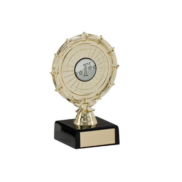 Gold Centre Holder Trophies On Black Marble Base