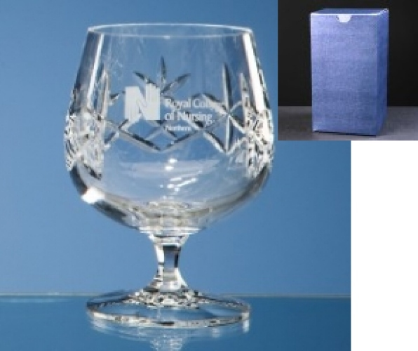 Earle Crystal Brandy Glass Supplied In Blue Cardboard Gift Box.