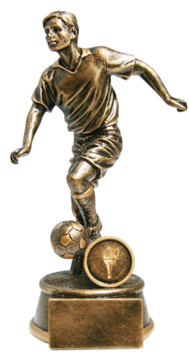Resin Football Trophies in Antique Gold Coloured Finish