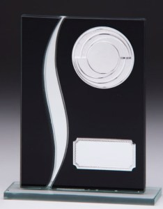 Black Coloured Glass Plaques With Trim
