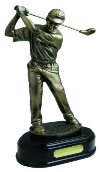 Resin Golf Trophies In An Antique Gold Coloured Finish On A Moulded Resin Base