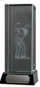 Golf Trophies With 3D Lasered Male Golfer On Black Marble Base