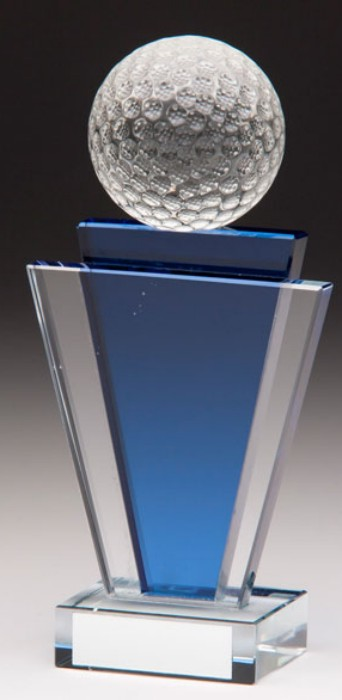 Glass Golf Trophies With 3D Glass Golf Ball