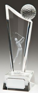 Glass Golf Trophies With 3D Glass Golf Ball And Lasered Golfer