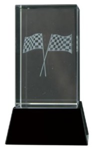 Glass Motorsports Trophies With 3D Laser Engraved Crossed Flags Scene