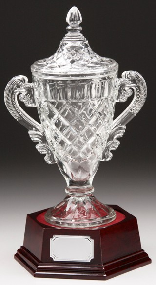 Full Cut Crystal Glass Cup on a Mahogany Coloured Wooden Base