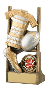 Resin Rugby Trophies In Antique Gold and Silver Coloured Finish