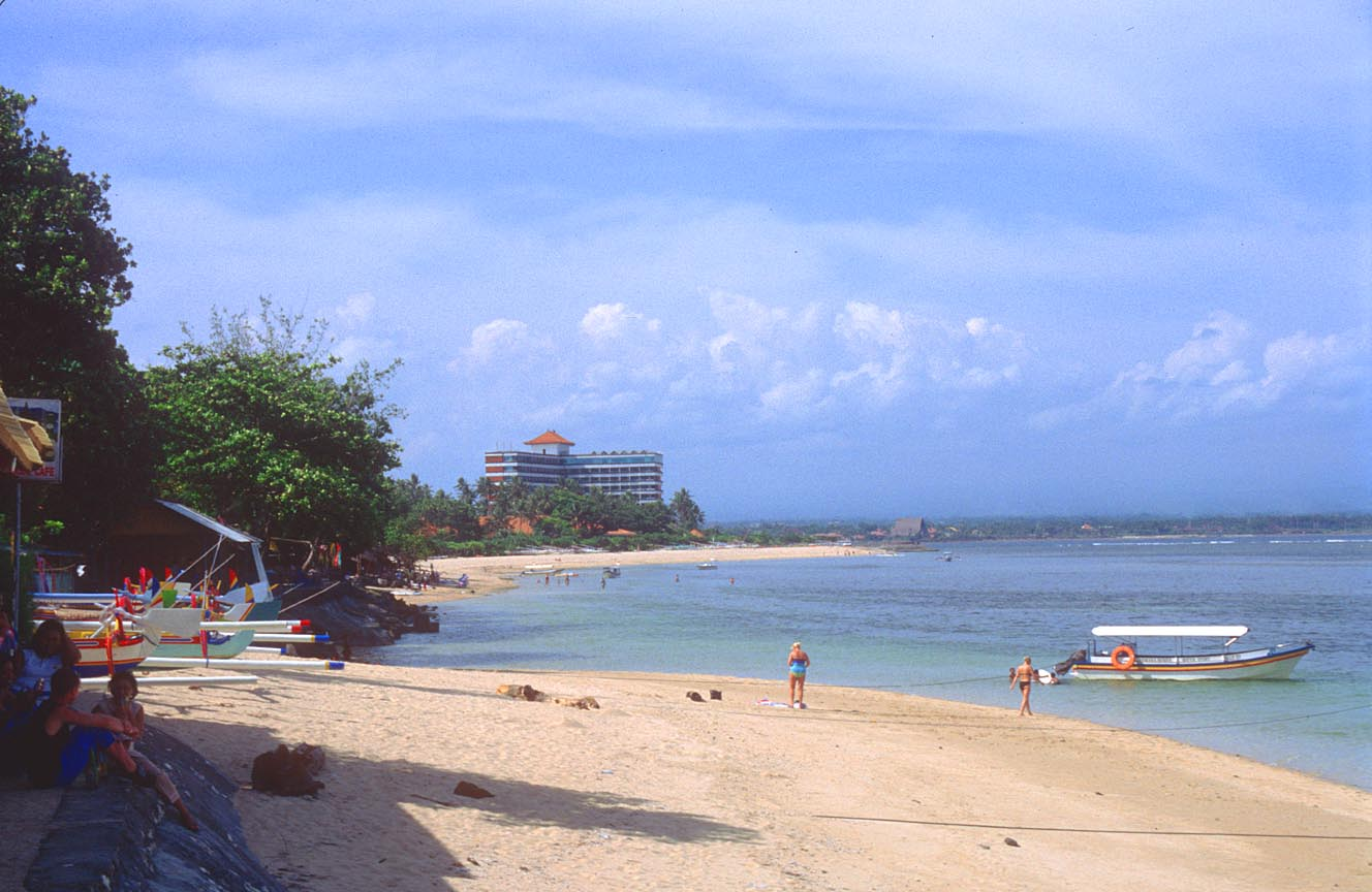sanur beach from aircraft bali beach with hotel