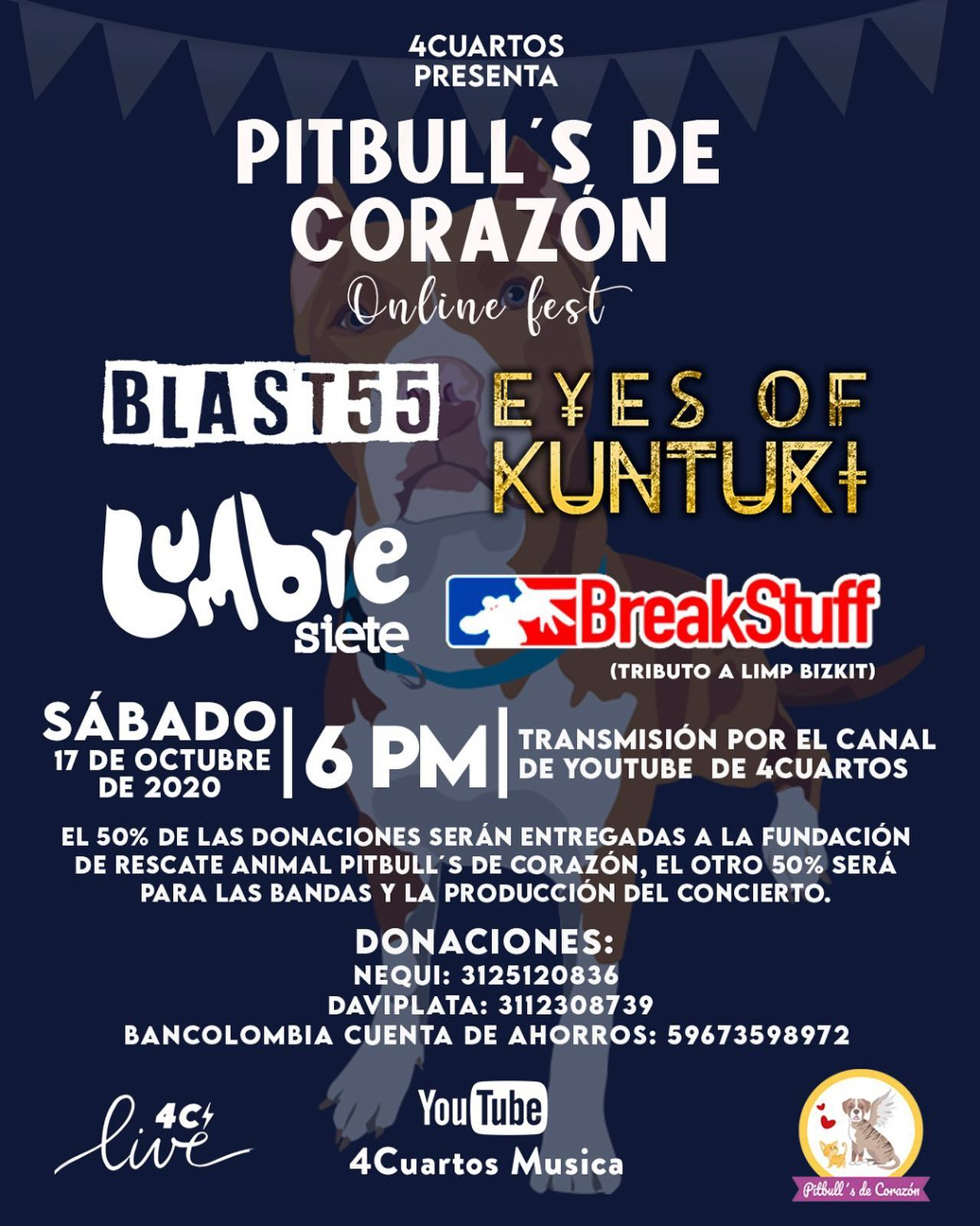 4Cuartos presenta Pitbulls de Corazón Online Fest con Blast 55, Eyes of Kunturi, Lumbre Siete y BreakStuff