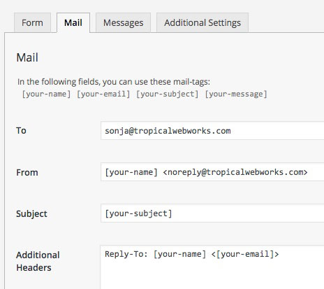 Use the Additional Headers field to add the user's email address as the Reply-To: address.