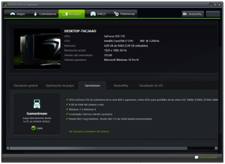 Estado del servicio GameStream
