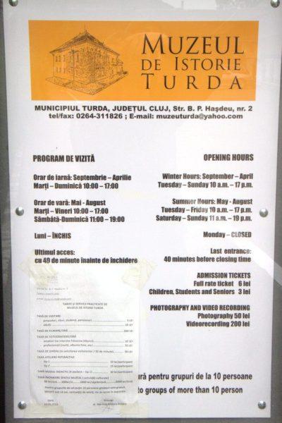 HORARIOS DEL MUSEO DE HISTORIA EN TURDA