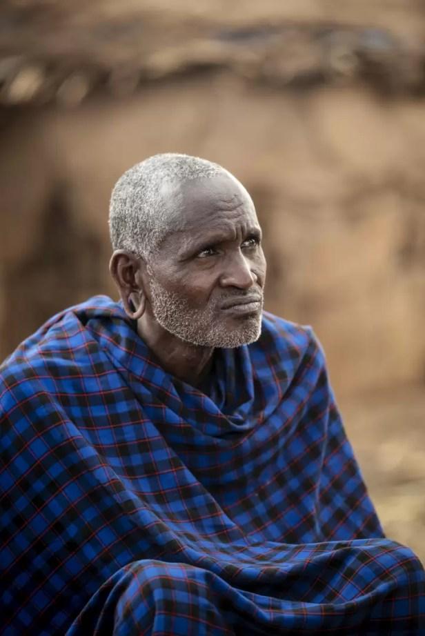 Oudere masai krijger in Amboseli National Park