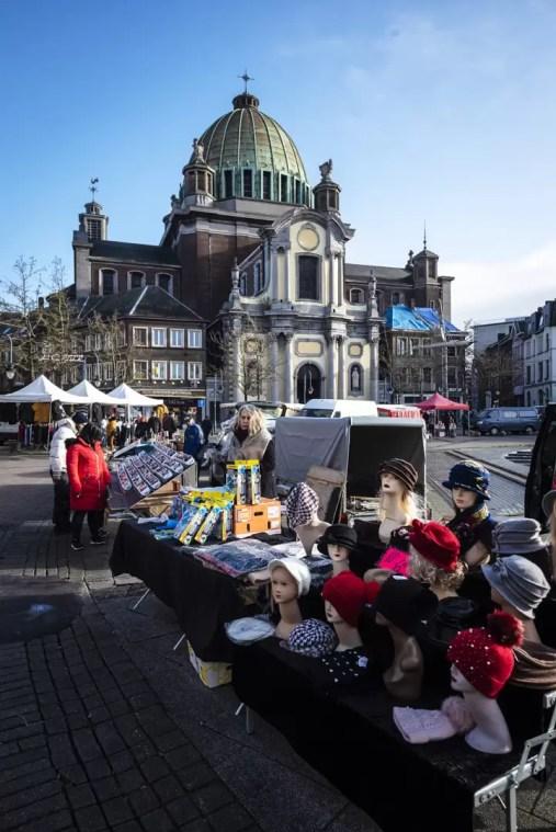 Église Saint-Christophe during the Sunday Market in Charleroi