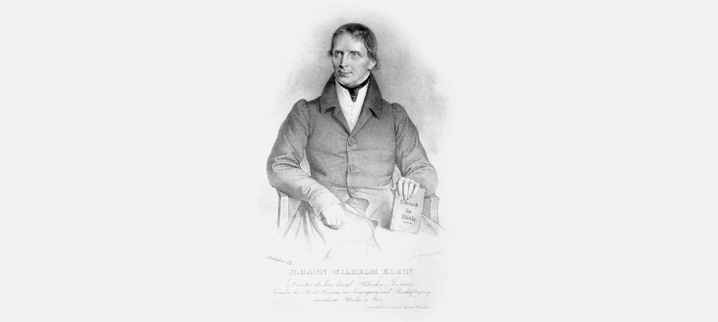 Ein gezeichnetes Portrait des Erfinders der Stachelschrift: Johann Wilhelm Klein