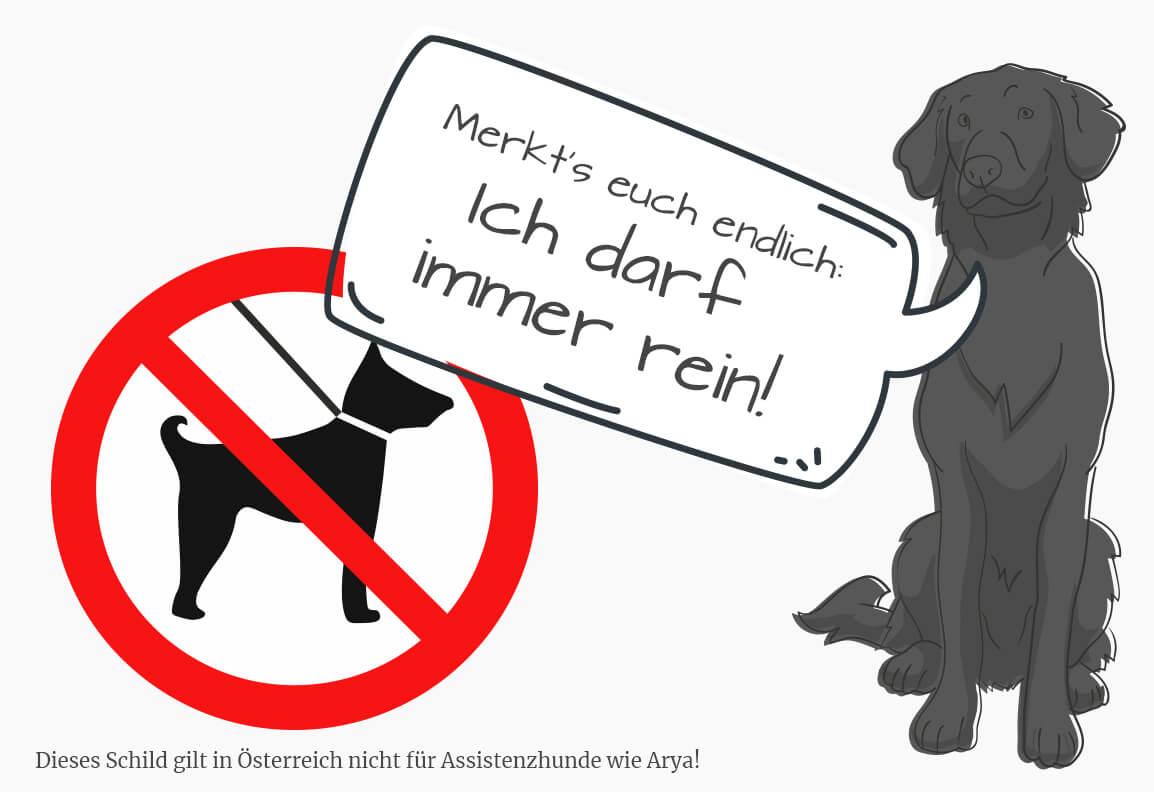 """gezeichnetes Bild von Arya mit einer Sprechblase in der steht: """"Merkt's euch endlich: Ich darf immer rein!"""". Links daneben ist ein Hunde-Verbotsschild"""