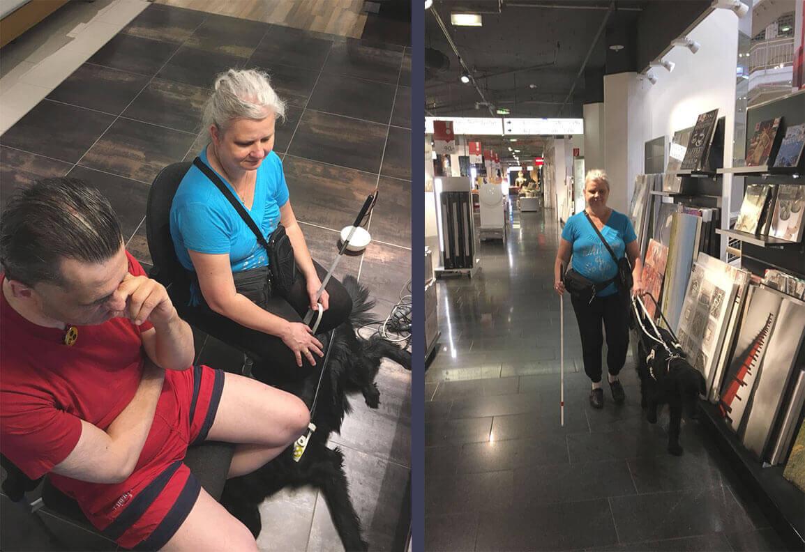 Links ein Foto mit Harald und Sabine auf Stühlen, zu ihren Füßen liegt Arya. Rechts ein Foto auf dem Arya Sabine einen Gang im Geschäft entlang führt.