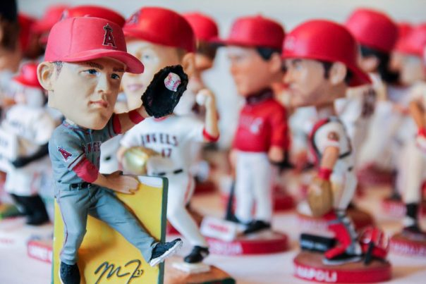 Mike Trout and complete set of Angels bobbleheads