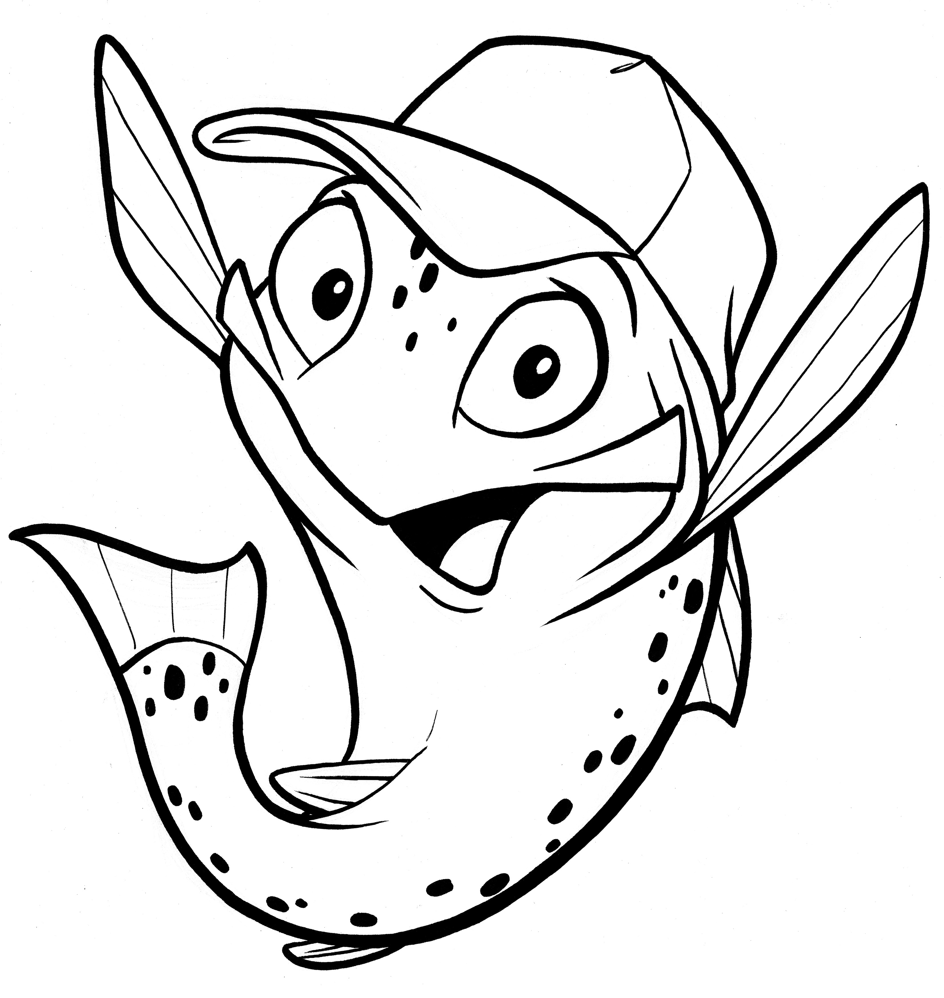 This is an image of Clean Fish Cartoon Drawing