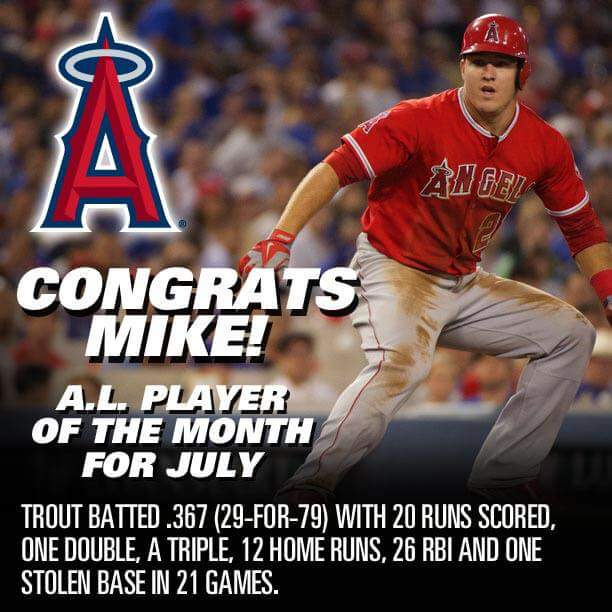MLB July 2105 player of the month Mike Trout