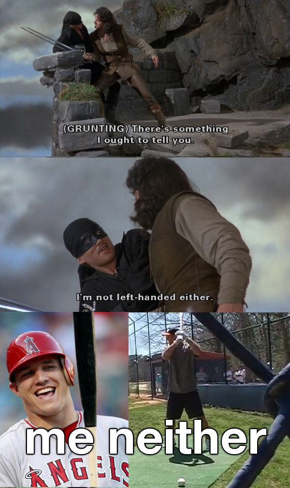 Mike Trout left handed with Princess Bride scene
