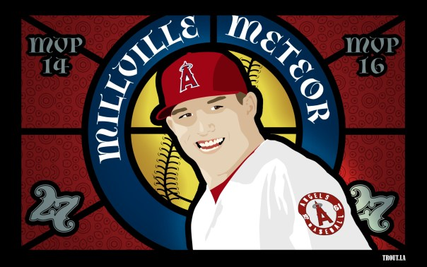 Mike Trout Stained Glass Artwork
