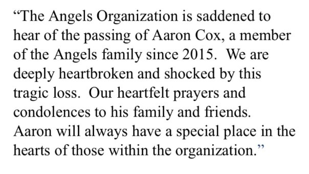 Angels response to the passing of Aaron Cox
