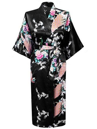 KIMONO JAPONAIS EN SATIN SEXY ROBE DE CHAMBRE ½ MANCHES PEIGNOIR – FEMME – HONOURSPORT