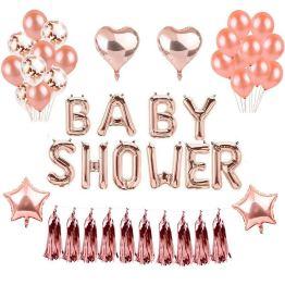 BABY SHOWER PARTY DECORATIONS BALLONS ROSE OR STAR CŒUR FEUILLE BALLON POUR BEBE DOUCHE DE MARIQAGE ANNIVERSAIRE FETE DECORATION – WEIMI