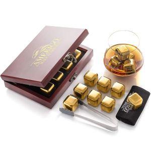 Pierre à whisky avec pince de service Or