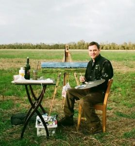 Troy Broussard working plein air in rural Louisiana; photo by TroysArt