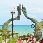 The Mayan Gateway - a 52 foot, 60 ton bronze sculpture by Jose Arturo Tavares in Playa del Carmen