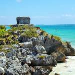 The Temple of the Descending God at Tulum, Quintana Roo, Mexico