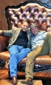 Both sloshed, Matthew and I develop an instantaneous bromance and pose for a photo in a giant chair.
