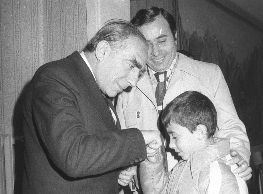 Devlet Bakanı ve Başbakan Yardımcısı ve MHP Genel Başkanı Alparslan Türkeş 23 Kasım 1977`de bayramlaşma törenine katıldı. (Arşiv)