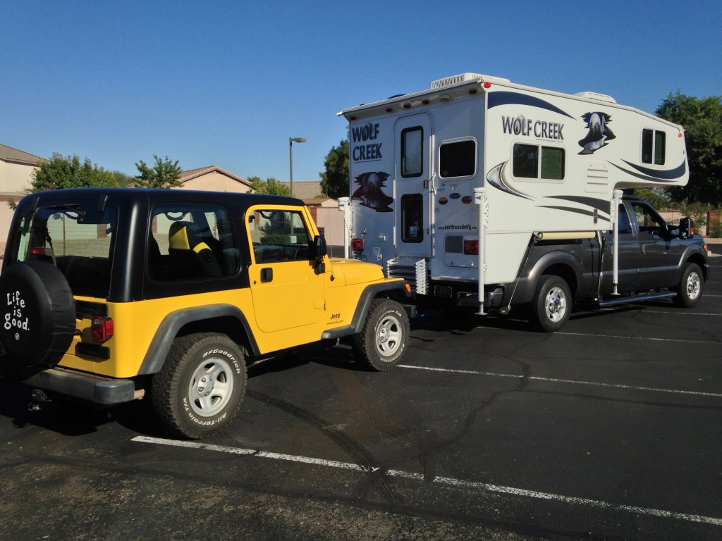 Flat Towing a TJ Jeep Wrangler - Truck Camper Adventure