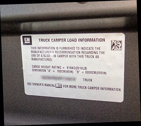 Truck Camper Cargo Weight Rating Chevy 2500 (Payload)