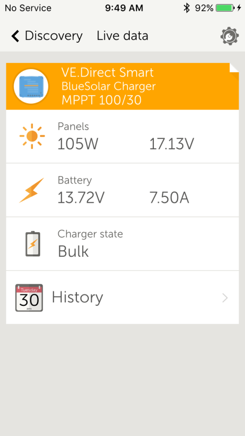Victron Battery Monitor and MPPT Controller with Smart Phone Display