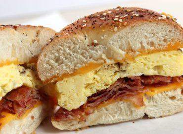 pacific sunrise bagel egg breakfast sandwich