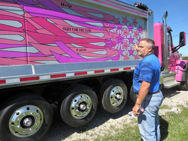 "Culbertson collaborated on this ""fight for the cure"" design for a new Allfab aluminum dump body aboard a Peterbilt 567 chassis."