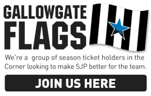Gallowgate Flags. We're a group of season ticket holders in the Corner looking to make SJP better for the team. Join us here.