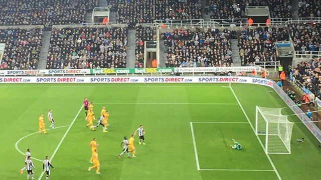 Matt Ritchie scores penalty at the Gallowgate end to make it 3-0 against Preston