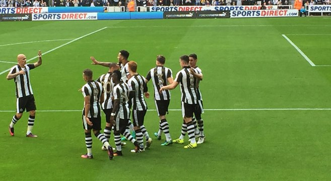 Players celebrate Ciaran Clarks goal against Brentford
