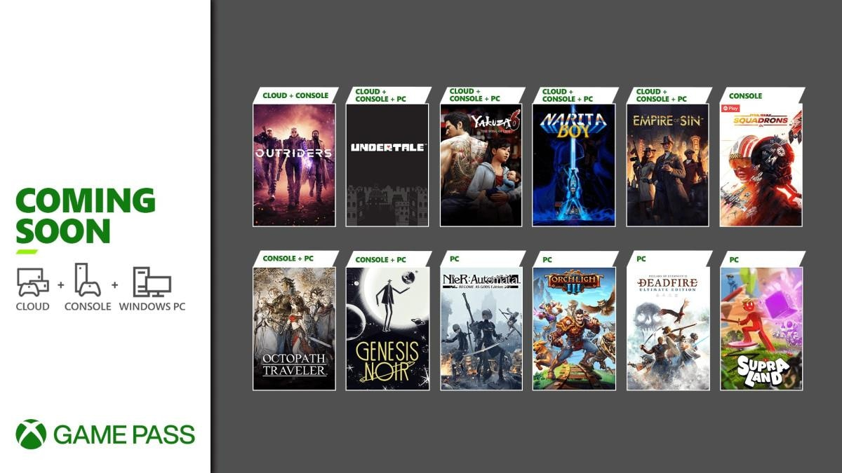 Xbox Game Pass marzo / abril de 2021